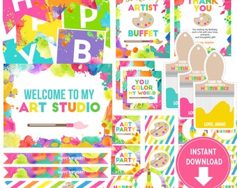 Art Birthday Party Collection Kit (INSTANT Download) Printable Art Favor Tags, Banner, Thank you cards Labels, Cupcake Toppers