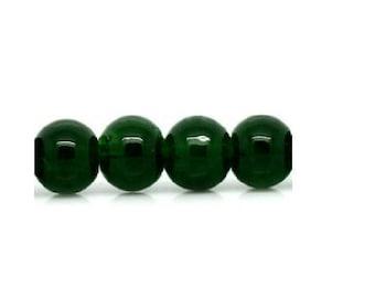 set of 50 dark green 6 mm glass beads