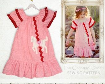 Girls dress pattern pdf, childrens sewing pattern pdf, girls sewing pattern, peasant dress pattern, girls clothing pattern, kids CAROUSEL