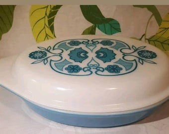 Vintage Pyrex Blue Horizon Divided Dish with Lid