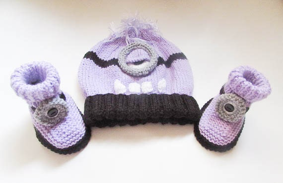 Knitting Pattern Minion Hat Minion Booties Hat Booties Beanie Minion
