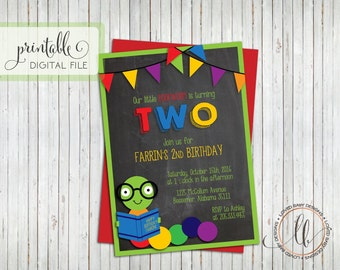 Bookworm Birthday Invitation, Book Party Invitation, Chalkboard Invitation, Build a Library Invitation - Printable Invitation, Digital File