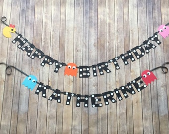 Pac-Man/Arcade themed birthday banner
