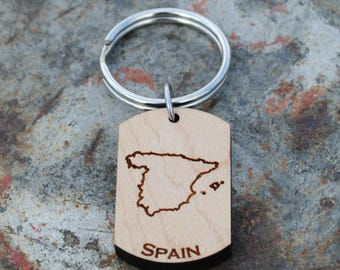 Spain Wooden Map KEYCHAIN