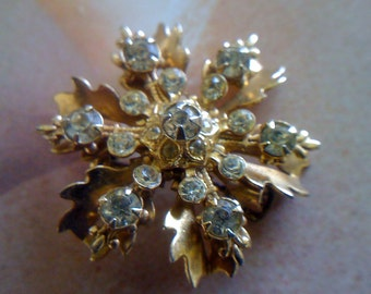 Vintage Brooch/ Pin Brooch/ Art Deco Jewelry/ Vintage Rhinestone/ Vintage Accessories Free Shipping