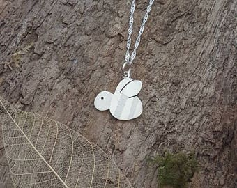 Handmade 925 Sterling silver Bee pendant/necklace - bee lover gift