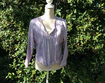 Bohemian style lilac button up long sleeved embroidered top