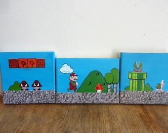 Super Mario Bros scenes 8-bit acrylic paintings