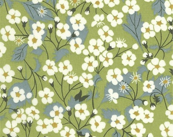 Liberty Mitsi Liberty color green pattern print fabric