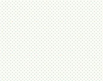 Riley Blake Designs, Swiss Dots Aqua, Polka Dot Fabric, White with Aqua polka dots