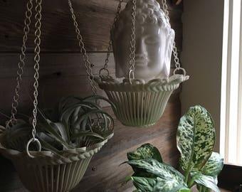 Vintage Set of 2 Plastic Ivory Hanging Planters