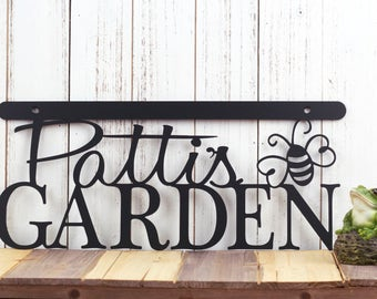 Garden Wall Decor   Name Sign   Wall Hanging   Gift For Her   Mother's Day Gift   Mothers Day Gift   Custom Sign   Bumble Bee