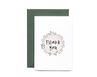 Thank You Wreath Illustrated Greeting Card