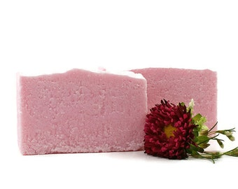 Romantic Pink Salt Soap | Feminine Romantic Scent, Sea Salt Soap, Palm Free Soap, Pink Soap, Gift for Woman Friend, Floral Woods Musk Scents