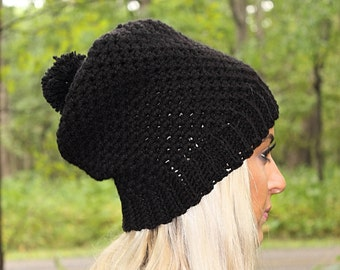 Black Pom Pom Hat, Black Slouchy Beanie, Black Slouchy Hat, Black Beanie, Black Hat, Black Winter Hat, Black Crochet Hat, THE COVINGTON
