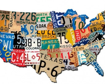 License plate map etsy usa license plate map extra large 58 x 36 metal art sign united states vintage style office home garage wall decor ps222 gumiabroncs Image collections