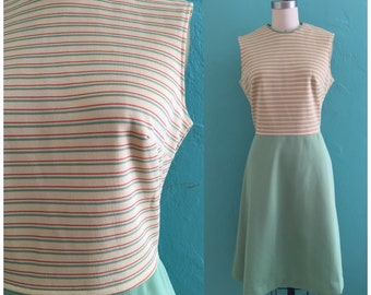vintage 60's striped scooter dress // mini shift dress