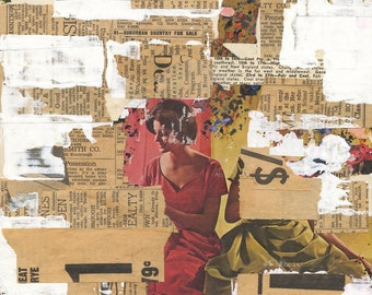 Suburban - original mixed media collage