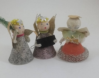 3 Vintage Angel Ornaments- - Spun Cotton Heads, Paper & Pipe Cleaners, Silver and Pink - 1950s, Midcentury Christmas Decor, Putz Village