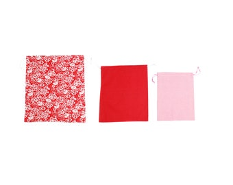 Cotton cloth bag fabric pouch set, colorful spring flowers, red white dotted and checkered pattern, eco friendly gift wrap, made in Vienna