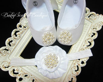 White Satin Baby Girl Shoes,Soft Sole Shoes,Christening Shoes with Headband Set