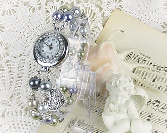 Watch quartz bracelet watch ladies wax Pearl crystal rondelles