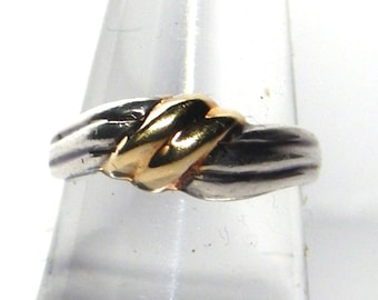 Sterling Silver and 14k gold over silver LOVE KNOT ring, about size 7