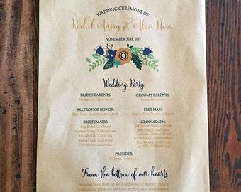 Wedding Program Favor Bag - Custom Popcorn Bag - Rustic Popcorn Bag, Personalized Bag - Popcorn Favor - Kraft