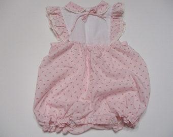 Vintage Pink Rosebud Baby Romper Sunsuit
