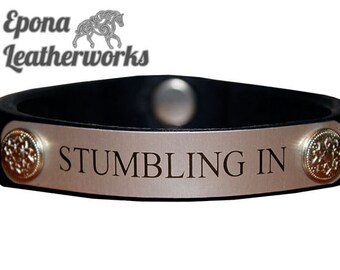 ID Bracelet - Leather Nameplate Bracelet - Name Leather Bracelet - Equestrian Nameplate Bracelet - Epona Leatherworks