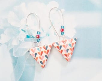 earrings triangle printed polymer clay