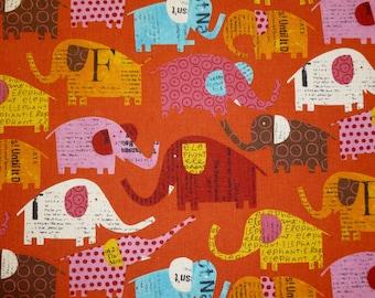 Elephants in Orange by Nancy Wolff  for Kokka- Half Yard