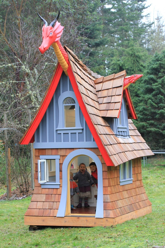 Dragon themed luxury children 39 s playhouse for Used kids playhouse