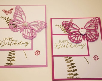 Birthday Card, Homemade Birthday Cards, Girl birthday card, Greeting Cards, Happy Birthday Card, Butterfly Birthday Package of 10