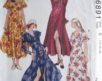 Misses' Dress with Flared Skirt – McCall's 6891 Vintage Sewing Pattern UNCUT – Size E 14, 16, 18