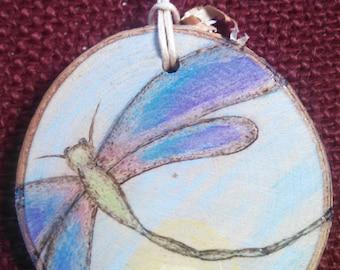 Dragonfly Wood Burned Ornament