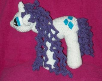 Rarity Unicorn Toy Pony Stuffed Animal Crochet Pony Horse Curly Haired Pony