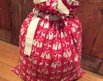 Red and Calico Quality Christmas Santa Sack, Hand Made, Large 54cm x 74cm, Fully Lined