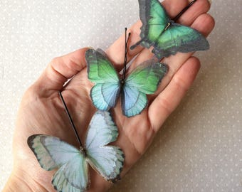 Handmade Butterfly Swallowtail Hair Bobby Pins, Light Blue and Green Shades, in Cotton and Silk Organza Fabric - 3 pieces