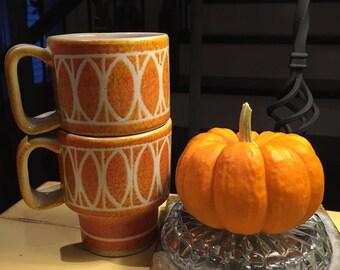 Retro Italian stackable orange mugs