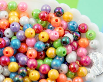 Shiny Beads - 8mm AB Bright Color Opaque Shiny Gumball Bubblegum Resin Beads - 150 pc set