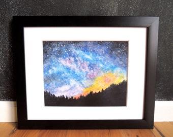 Starry Night Sky - Watercolor Art Print