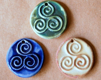 3 Handmade Ceramic Beads - Triple Spiral Beads - Celtic Triskele Beads for Pendants - Ancient Symbol Celtic of cycles, progress, revolution