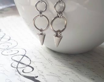 Circles and spikes stainless steel earrings