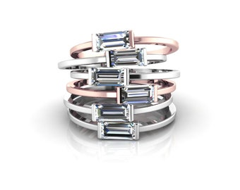Horizontal Baguette Ring Solid 14k Rose Gold Sideways Baguette Crystal CZ Jewelry Stacking Delicate Band