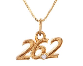 Marathon Jewelry 26.2 Marathon Gold Charm Necklace