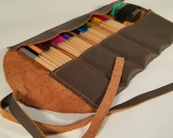 Gray and Tan Leather Pencil Roll, 24 ct, Leather pencil case, pen case, pen roll, leather marker roll, leather pencil wrap, sketch roll