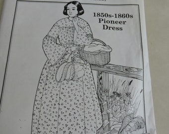 Past Patterns 1850-1860 Pioneer Dress Multi size Sewing Pattern #803