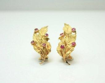 Buccellati 18K Yellow Gold and Ruby Earrings