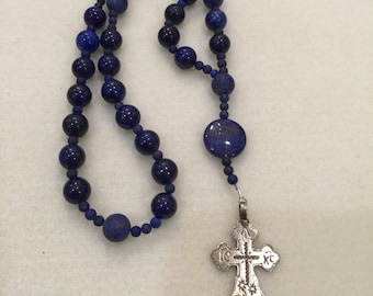 Lapis Anglican Rosary  Protestant Rosary  Episcopal Rosary  Something Blue Wedding  Victory  ARML1216